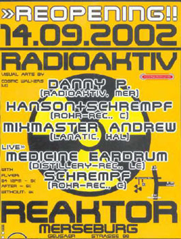 Flyer radioaktiv techno party 2002/09
