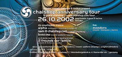 Flyer chaishop anniversary tour